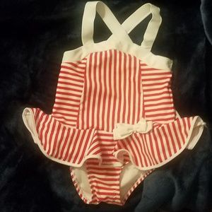 Girl's 5T Red & White Striped Skirted Bathing Suit